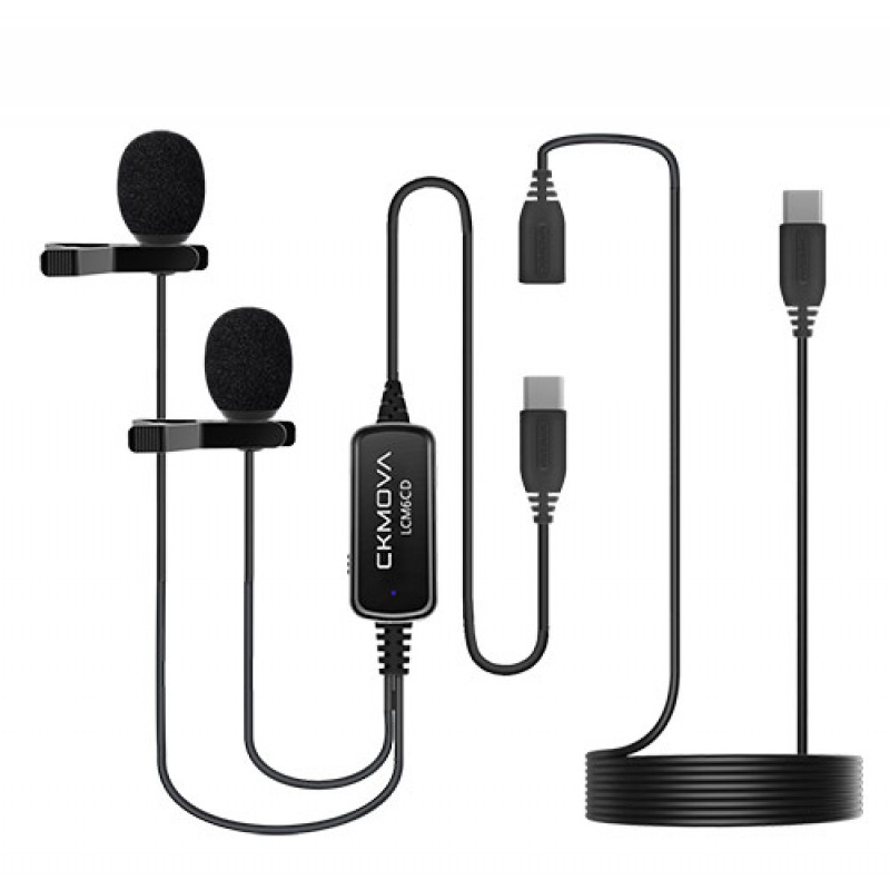 Ckmova LCM6CD Dual Head Lavalier Microphone for USB Type-C Devices